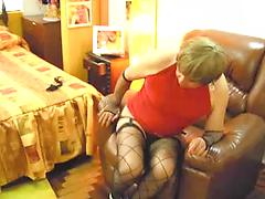 Older Granny Tgirl Crossdresser Fucks Ass With Dildo