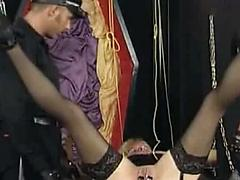 Dirty Slut Puts Clamps On Her Long Pussy Lips