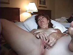Hot Brunette Older Woman Masturbates Her Pussy