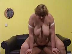 Sexy Bbw Sucks Cock And Gets Pounded On Sofa