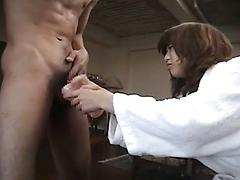 Asian Babe With Furry Twat Bends Over To Get It Filled