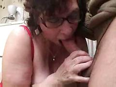 Old Woman With Huge Tits Gets Banged In Kitchen