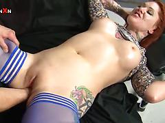 Sexy cougar with big tits and tattooed bodyTallulah gets fisted