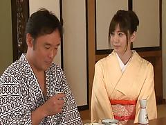 Gorgeous Japanese hottie in a kimono shows off riding skills