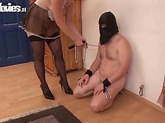Chubby blonde babe in black pantyhose dominates her enslaved dude
