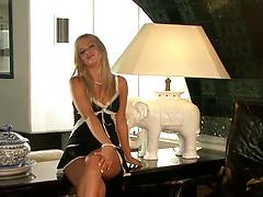 Fantastic blonde amateur babe strips and toys pussy in the office