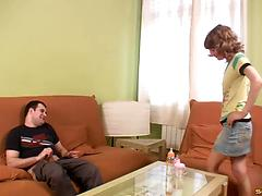 Teen girlfriends favor a crazy dude with a perfect blowjob in FFM threesome