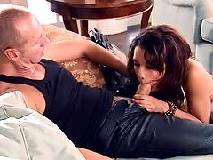 Busty pornstar Renae Cruz licks dick and gets poked in a reality porn vid