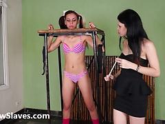 Brazilian bdsm and lesbian whipping of tied teen slave girl